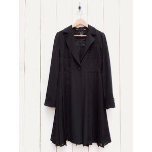 Arden B. Long Black Pleated Jacket Coat Medium